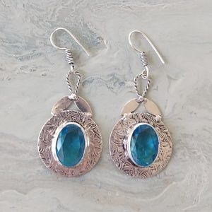 Jewelry - engraved blue topaz stamped 925 earrings